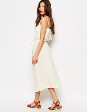 photo Midi Dress with Tassel Details in White by Sessun, color Cream - Image 2