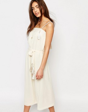 photo Midi Dress with Tassel Details in White by Sessun, color Cream - Image 1