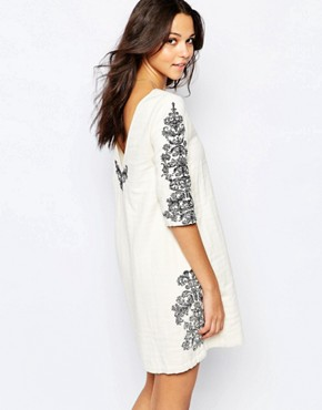 photo Embroidered Jungle Dress with Deep V Back by BA&SH, color White - Image 2