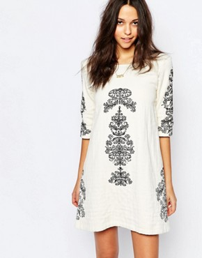 photo Embroidered Jungle Dress with Deep V Back by BA&SH, color White - Image 1