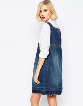 photo Anglomania Denim Dress with Raw Hem and Open Back by Vivienne Westwood, color Blue - Image 2