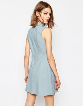 photo Frill Front Mini Shirt Dress by ASOS, color Blue - Image 2