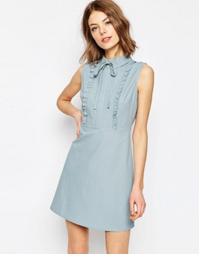 photo Frill Front Mini Shirt Dress by ASOS, color Blue - Image 1