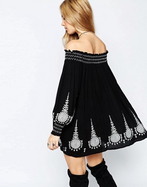 photo Off Shoulder Swing Dress with Embroidery by ASOS PREMIUM, color Black - Image 2