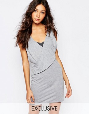 photo Wrap Front Dress with Plunge Neck by Rokoko, color Grey Marl - Image 1