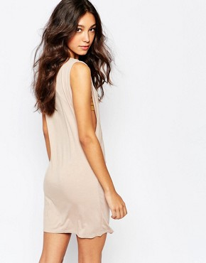 photo Wrap Front Dress with Plunge Neck by Rokoko, color Nude - Image 2