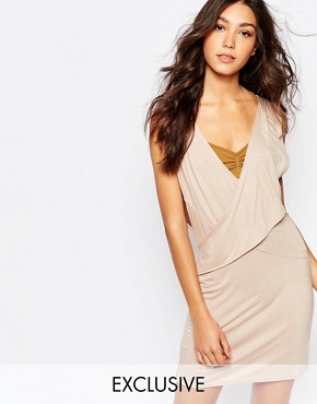 photo Wrap Front Dress with Plunge Neck by Rokoko, color Nude - Image 1