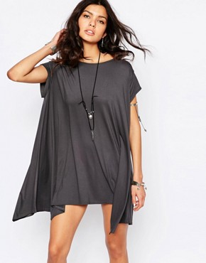 photo Swing T-Shirt Dress with Open Back by Rokoko, color Washed Black - Image 2