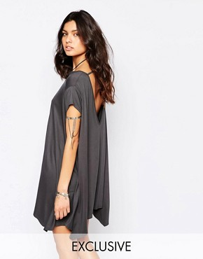 photo Swing T-Shirt Dress with Open Back by Rokoko, color Washed Black - Image 1