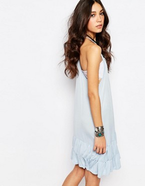 photo Racer Back Vest Dress with Ruffle Hem by Rokoko, color Pastel Blue - Image 2