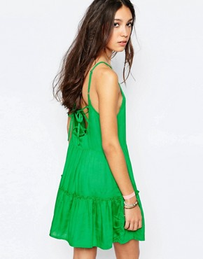 photo Lace Up Back Beach Dress by Akasa, color Green - Image 2