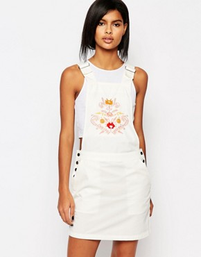 photo Western Embroidered Dungaree Dress by Vero Moda, color White - Image 1