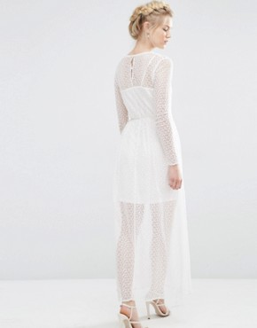photo Sheer Lace Mix Maxi Dress by Vero Moda Petite, color Snow White - Image 2