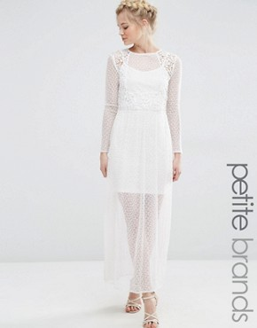 photo Sheer Lace Mix Maxi Dress by Vero Moda Petite, color Snow White - Image 1