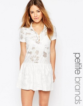 photo Drop Hem Polo Shirt Dress by Vero Moda Petite, color White - Image 1