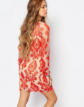 photo Lace Bodycon Dress by Honey Punch, color Papaya - Image 2