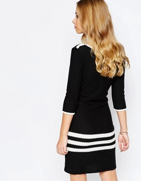 photo Dexter Knitted Shift Dress with Stripe Panel by Supertrash, color Black/Off White - Image 2