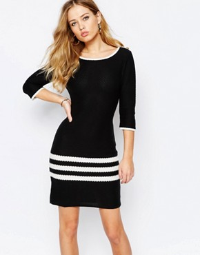 photo Dexter Knitted Shift Dress with Stripe Panel by Supertrash, color Black/Off White - Image 1
