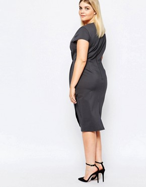 photo Plunge Front Pencil Dress with Embroidered Waist Detail by Paper Dolls Plus, color Grey - Image 2
