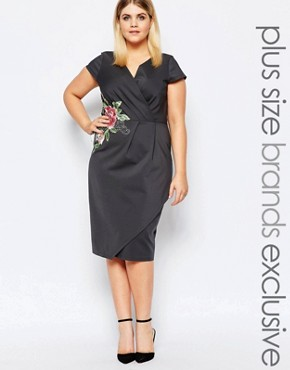 photo Plunge Front Pencil Dress with Embroidered Waist Detail by Paper Dolls Plus, color Grey - Image 1