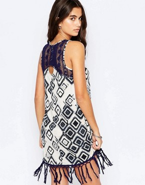 photo Shift Dress with Fringe Hem by Band of Gypsies, color Navy White - Image 2