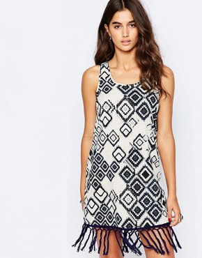 photo Shift Dress with Fringe Hem by Band of Gypsies, color Navy White - Image 1