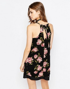 photo Swing Dress in Rose Print by Band of Gypsies, color Black Pink - Image 2