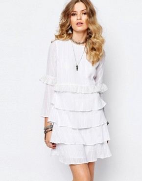 photo Multi Layer Longsleeve Dress in White by Stevie May, color White - Image 1