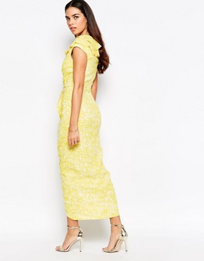 photo Grange Ruched Front Midi Dress by VLabel London, color Yellow/White - Image 2