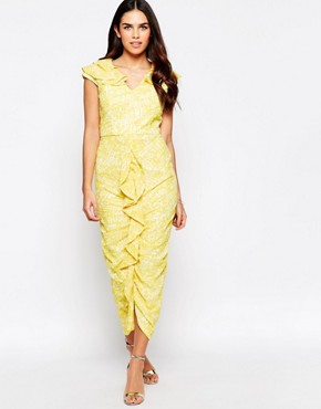 photo Grange Ruched Front Midi Dress by VLabel London, color Yellow/White - Image 1