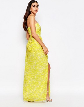 photo Hook Bandeau Maxi Dress with Split Front by VLabel London, color Yellow - Image 2