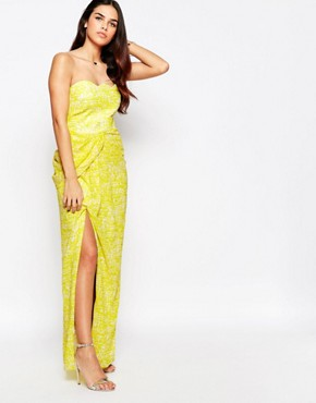 photo Hook Bandeau Maxi Dress with Split Front by VLabel London, color Yellow - Image 1