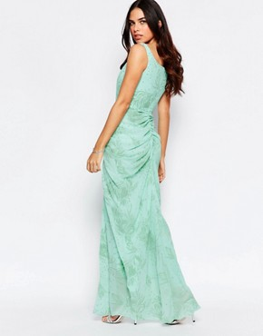 photo India Off Shoulder Maxi Dress with Ruched Front by VLabel London, color Mint Green - Image 2