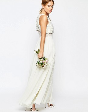photo Pearl Crop Top Maxi Dress by ASOS BRIDAL, color White - Image 2