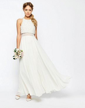 photo Pearl Crop Top Maxi Dress by ASOS BRIDAL, color White - Image 1