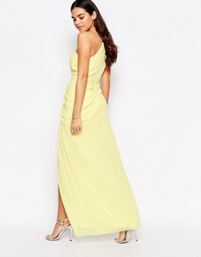 photo Temple Halterneck Maxi Dress with Split by VLabel London, color Yellow - Image 2
