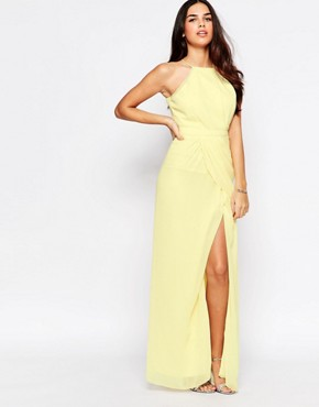 photo Temple Halterneck Maxi Dress with Split by VLabel London, color Yellow - Image 1