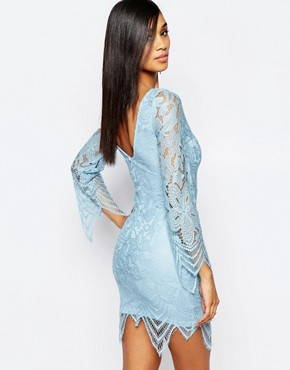 photo Allover Lace Dress with Scalloped Hem by Rare, color Powder Blue - Image 2