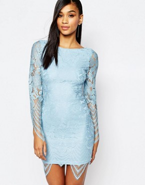 photo Allover Lace Dress with Scalloped Hem by Rare, color Powder Blue - Image 1