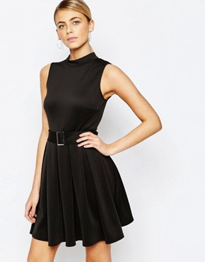 photo High Neck Mini Dress with Belt by Love, color Black - Image 1