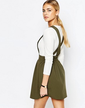 photo Tailored Mini Pinafore Dress by Love, color Khaki - Image 2