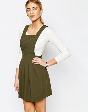photo Tailored Mini Pinafore Dress by Love, color Khaki - Image 1