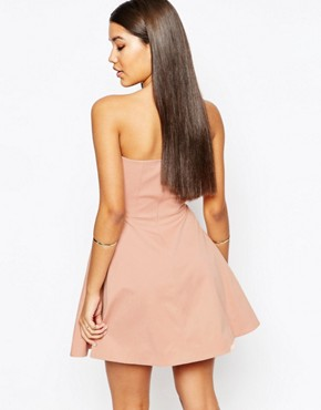 photo Athena Bandeau Prom Mini Dress by AQ AQ, color Blush Peach - Image 2