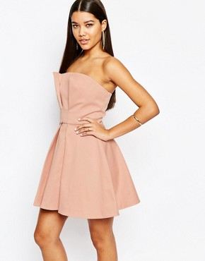 photo Athena Bandeau Prom Mini Dress by AQ AQ, color Blush Peach - Image 1