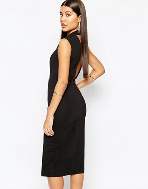 photo Hoven Midi Dress with Deep V Back by AQ AQ, color Black - Image 2