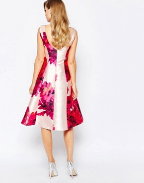 photo Full Sateen Skater Dress in Bold Floral Print by True Violet, color Pink Floral Print - Image 2