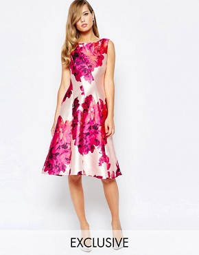 photo Full Sateen Skater Dress in Bold Floral Print by True Violet, color Pink Floral Print - Image 1