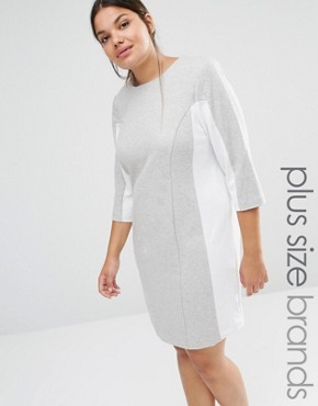 photo Shift Dress with Contrast Panels by Carmakoma, color Grey - Image 1