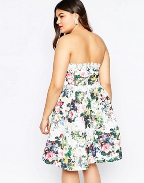 photo Floral Printed Bandeau Prom Dress by Paper Dolls Plus, color Multi - Image 2