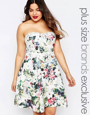 photo Floral Printed Bandeau Prom Dress by Paper Dolls Plus, color Multi - Image 1